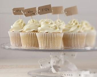 Plain Kraft Cupcake Sticks, Food Flags, Cupcake Decorations, Food Decorations, Wedding Decorations, Party Supplies, Food Decor, Wedding