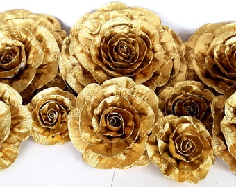 Gold large giant paper flowers kate bridal spade shower baby decor CENTERPIECE Photo backdrop paris Wedding flowers birthday Nursery Wall