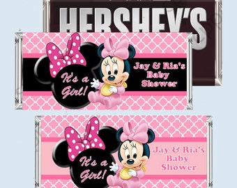 Baby MINNIE MOUSE Baby Shower Candy Bar Wrapper, Hershey Bar Wrappers PRINTABLE
