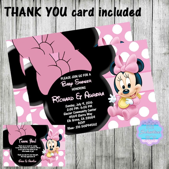 baby minnie mouse baby shower invitation with thank you card included