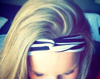 adult headwrap, top knot headband, adult turban style headband, twisted headband, adult stretch headwrap, black and white striped head wrap