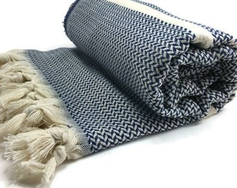 Turkish Towel Turkish Hammam 100 Cotton Peshtemal Yoga Pestemal Otentik Marine