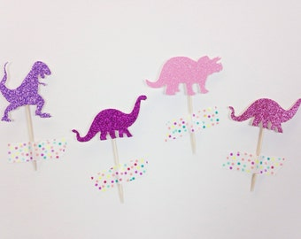Dinosaur Cupcake Toppers (set of 24-glitter)