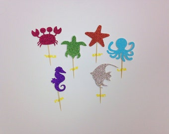 Under the Sea Cupcake Toppers (set of 24-glitter)