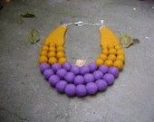 "Felted Necklace ""Eggplant mustard""  violet mustard beads wool jewelry"