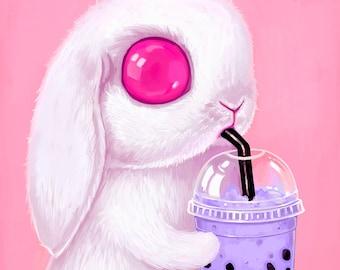 Bunny Art Print - 10x10 - big eyes, white rabbit, Pop Surrealism, bubble tea, pink, lowbrow art, animal, creepy cute