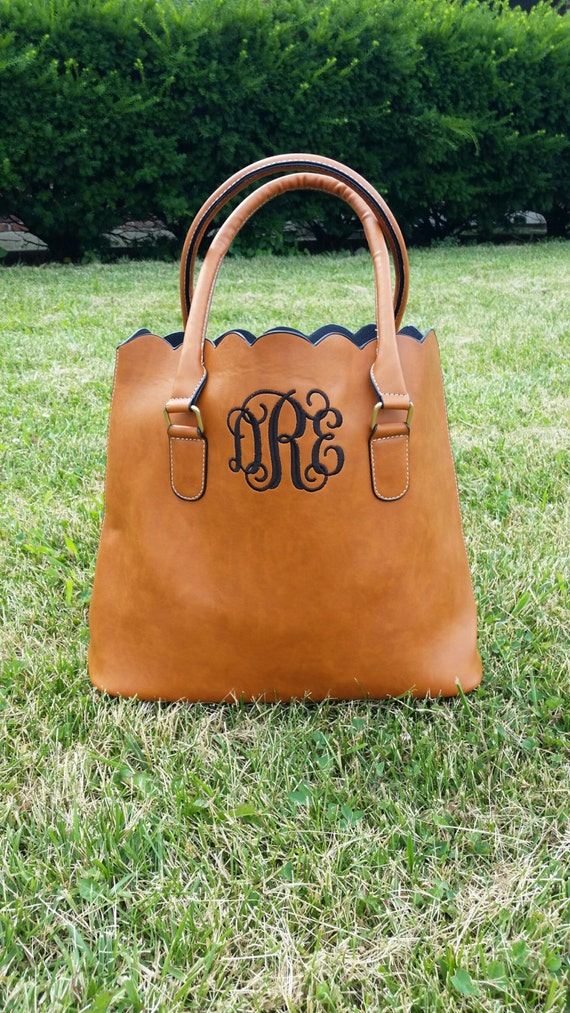 monogrammed scalloped tote