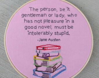 Jane Austen quote hoop art