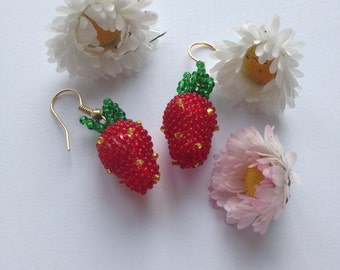 Strawberry earrings, Summer jewelry, Earrings for girls, Red Strawberry, Red berries earrings, Red earrings, Beaded Strawberry