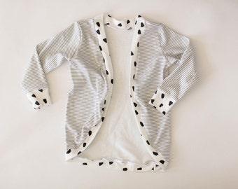 Organic knit Grey and white stripe cardigan with dot trim