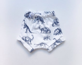 Black and white dinosaur organic cotton knit baby boy bloomers