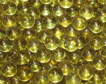 "One Pound Of New Transparent Gold Glass Marbles (5/8"" +/-). Great For Decorating, Crafts, Games And Collecting."