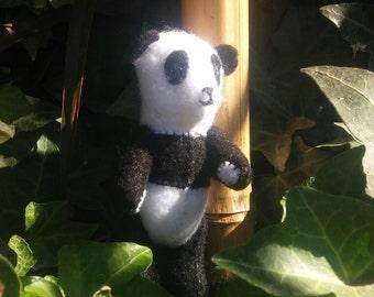Personalized, Hand Stitched, Stuffed, Felt Petite Panda