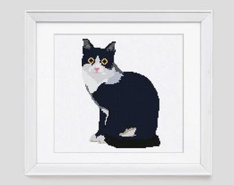 Cat cross stitch pattern, cat counted cross stitch pattern, modern black cat cross stitch pattern, black cat cross stitch pattern