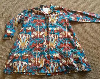 SALE ! Vintage Wearable Art Painter style Shirt Mini Dress ! A line 70 Hippy Gypsy