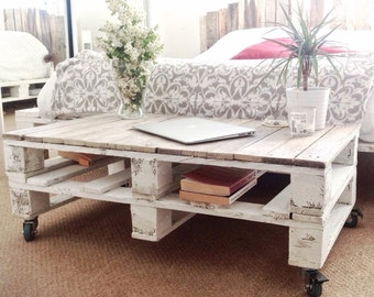 Pallet Coffee Table ESMA in Farmhouse Style with Castor Wheels - Industrial Reclaimed