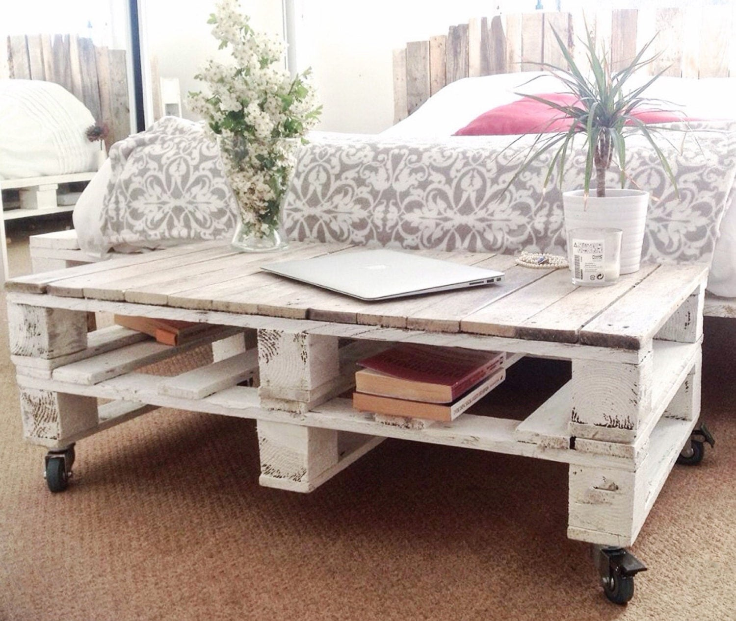 Pallet Coffee Table Esma In Farmhouse Style With Castor Wheels