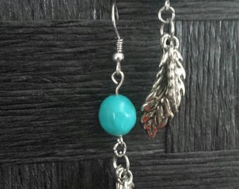 Silver Leaf, Turquoise,  Earrings,  Leaf Charms