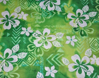 Retired! 1/2 Yard of Green Floral Garden 100% Cotton Quilt Fabric