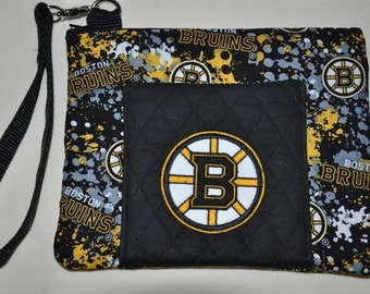 New!  Boston Bruins Fabric - Quilted Wristlet - Embroidered - Coin Purse - Cell Phone Case -