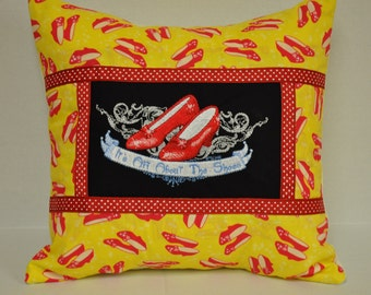 "14"" x 14"" Wizard of Oz Ruby Slippers ""It's All about the Shoes"" Embroidered Decorative Pillow"