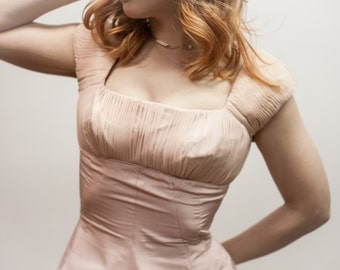 Vintage Pale Pink Satin Party Dress with Balconette Bodice and Cap Sleeves