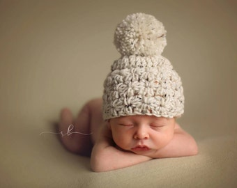 Infant Crochet Hat, Winter Hat,  Star Crochet Hat, Infant Photo Prop, Handmade