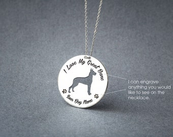 Personalised DISK GREAT DANE Necklace / Circle dog breed Necklace / Danua necklace / Dog necklace / Silver, Gold Plated or Rose Plated.