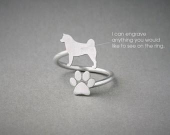 AKITA-PAW Spiral Ring • Akita Inu • Name Ring • Paw Ring • Custom Ring • Dog Gift • Dog Ring • Akita Gift