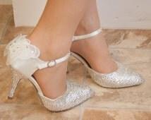 Luxury wedding shoes with around 1600 genuine swarovski crystals & luxury lace. Unique crystal wedding shoes.