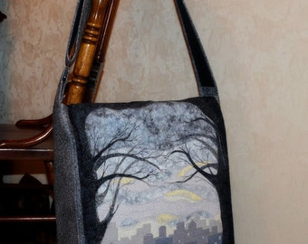 Morning cityQuilt / Patchwork Handmade Bag with Applique