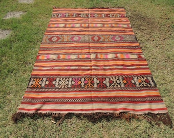 Turkish kilim rug with lovely tribal motifs and decorative colors, turkish kilim rugs, tribal turkish kilim rugs
