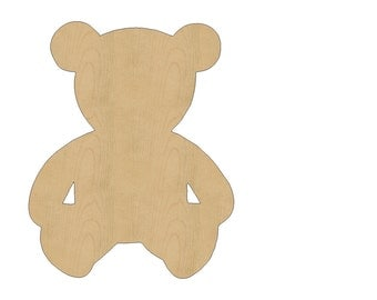 Teddy Bear Cutout Shape Laser Cut Unfinished Wood Shapes, Craft Shapes, Gift Tags, Ornaments #800 All Sizes