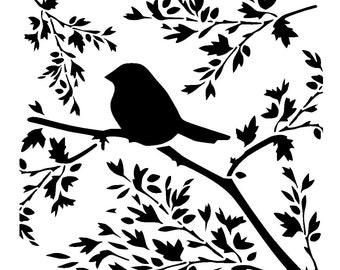 """12/12""""  bird on branch stencil."""