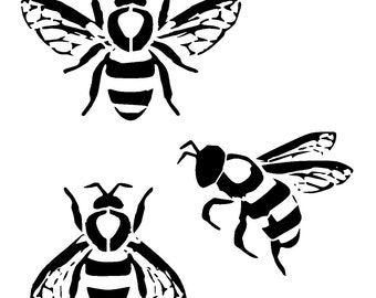 "6/6"" Bumble bee collection stencil."