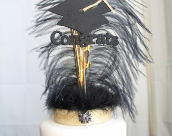 Congrats Graduation Gatsby black and gold feather cake topper