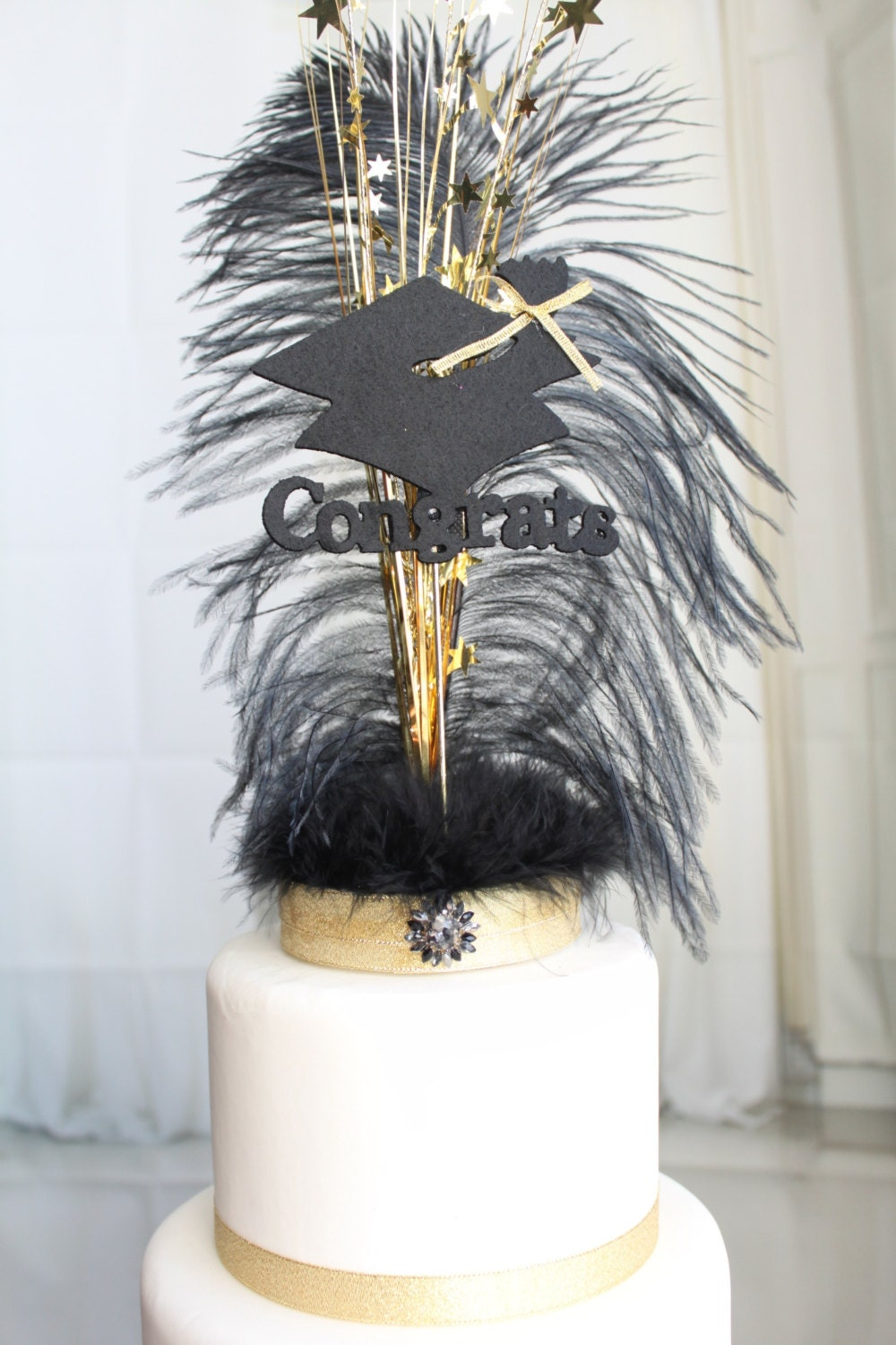 black and gold wedding cake topper congrats graduation gatsby black and gold feather cake topper 11815