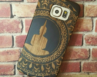 Laser Engraved Mayan Aztec Themed Mandala with Hindu Meditating Buddha on  Wood phone Case for  Galaxy S5 S6 and S6 EDGE S-057