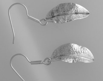 Fine Silver Fold Formed Sage Leaf Earrings (fold forming, chasing, and repoussé)