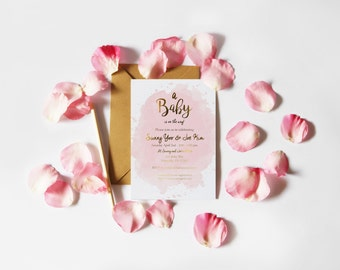 Watercolor Splash Gold Foil Baby Shower Handmade Invite