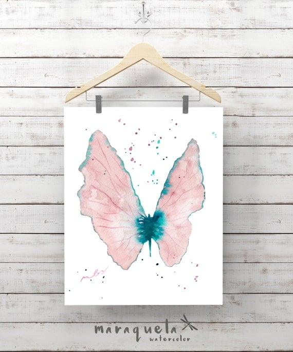 Light BUTTERFLY Illustration Watercolor - Art wall, watercolor, painting living- room, home decor, poster print living-room ideas gift woman