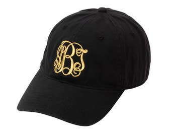 Black Monogrammed Cap - Monogrammed Baseball Cap - Black Baseball Cap