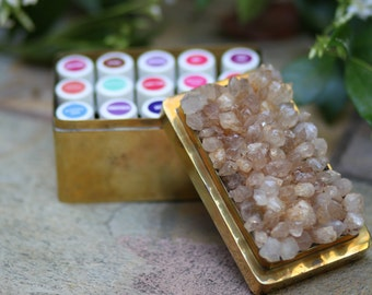 Brass and Quartz Crystal Storage Box, Storage Tin