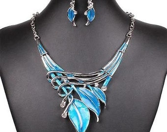 Blue Enamel Statement Necklace Earring Set with Magnetic Clasp