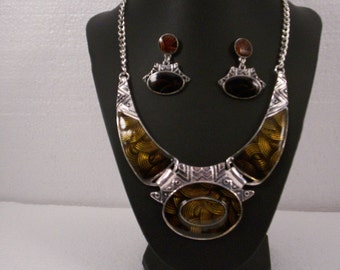 Bronze Gold and Brown Gorgeous Statement Necklace with Magnetic Clasp