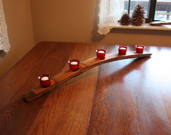 Wine Barrel Stave Candle Holder, Full