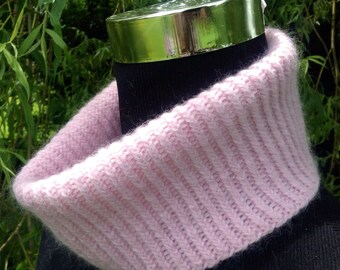 Spring cashmere mini snood / collar in pale pink by Willow Luxury