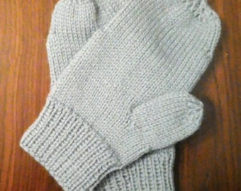 Wool knitted mittens