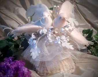 Vintage Wedding Cake Topper with Two Doves