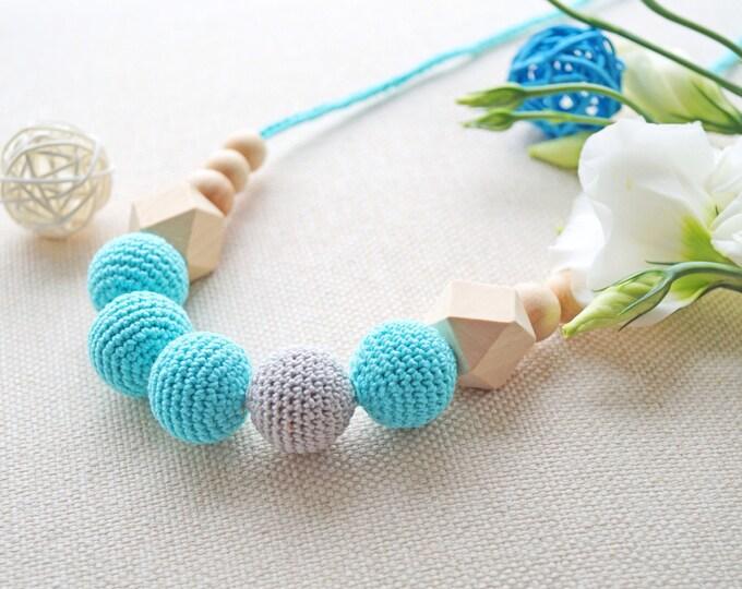 Nursing necklace / Teething necklace / Babywearing necklace - Mint-grey